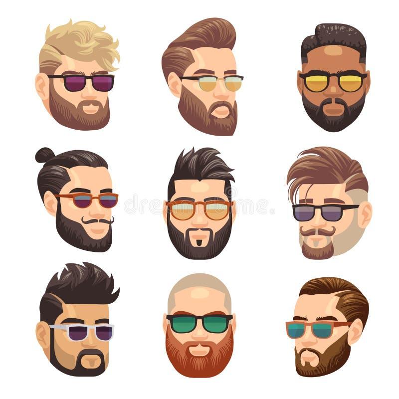 Mens van beeldverhaal de gebaarde hipster en mannelijke kapsel vectorreeks stock illustratie
