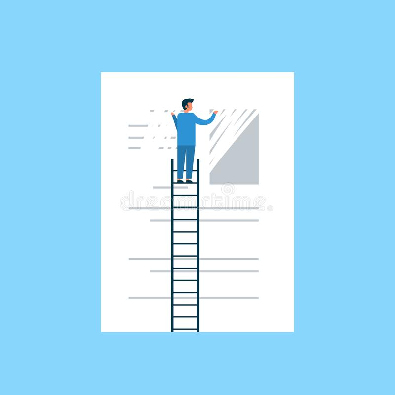 Mens van het de gegevensconcept van de zakenman de wissende informatie duidelijke op de vlakke blauwe achtergrond van de ladder d vector illustratie