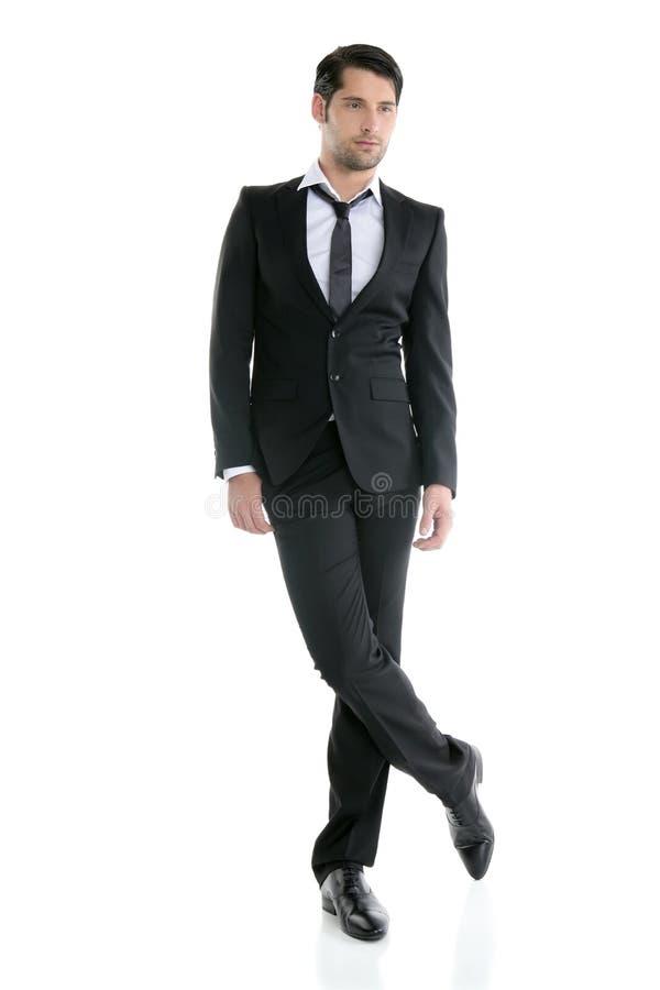 Mens van het de lengte elegante jonge zwarte kostuum van de manier de volledige royalty-vrije stock afbeeldingen