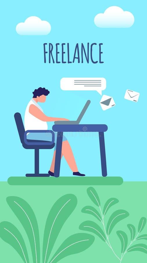 Mens Ver Werken aan Laptop Freelance banner royalty-vrije illustratie