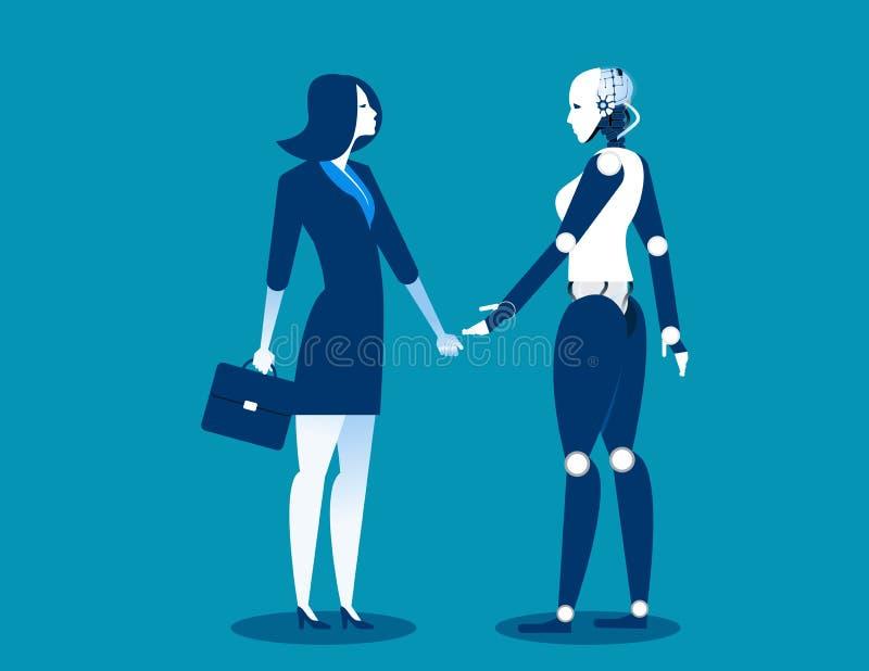 Mens versus robot, Onderneemster die zich met robot bevinden Concepten bedrijfsautomatiserings toekomstige illustratie Vectorbeel stock illustratie