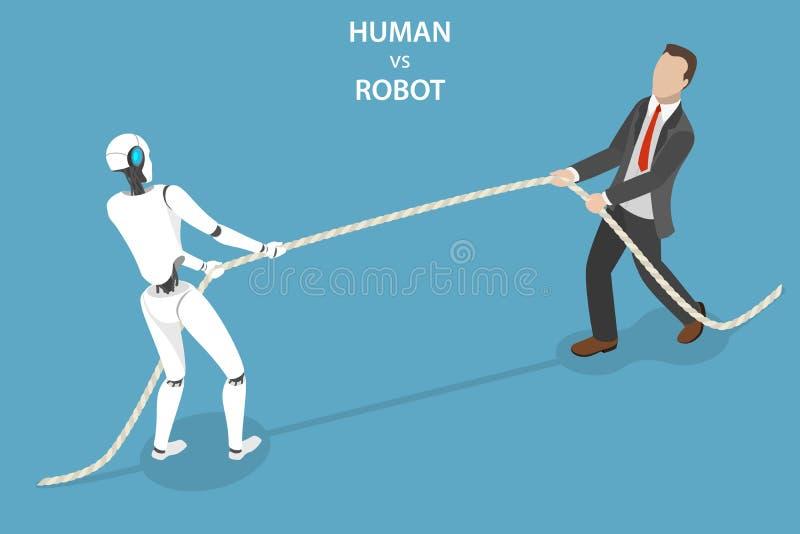 Mens versus robot vlak isometrisch vectorconcept royalty-vrije illustratie
