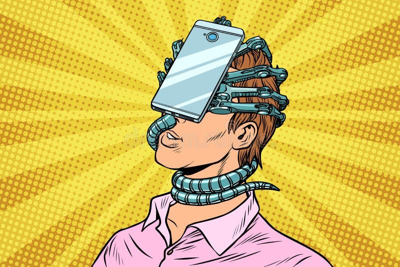 Mens in virtuele werkelijkheidssmartphone die wordt geabsorbeerd stock illustratie