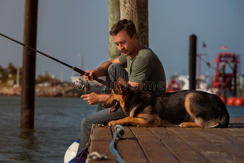 Mens visserij stock foto