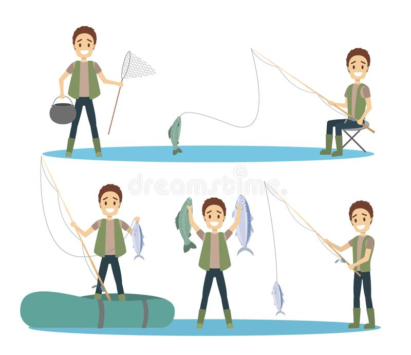 Mens visserijreeks stock illustratie