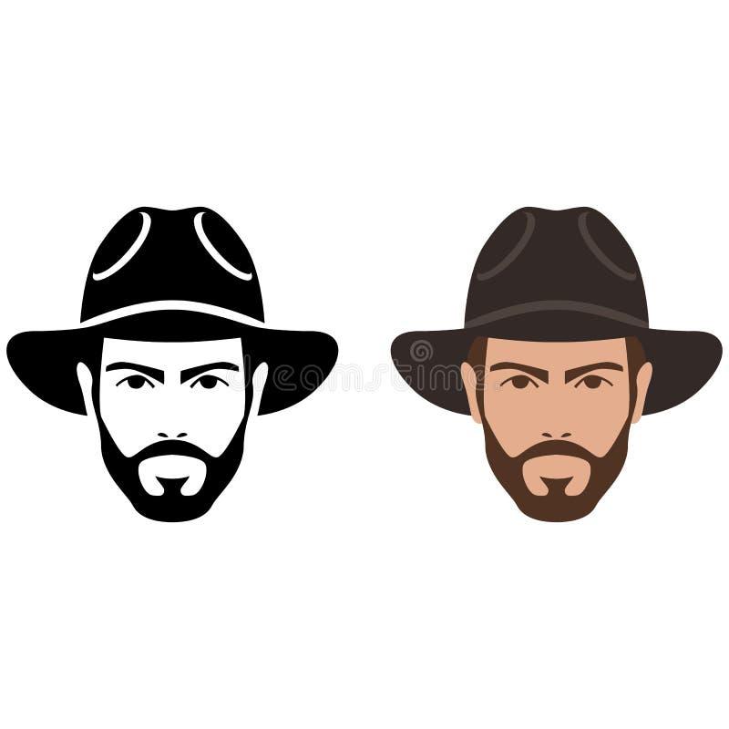 Mens in vlakke stijl van de hoeden de vectorillustratie stock illustratie