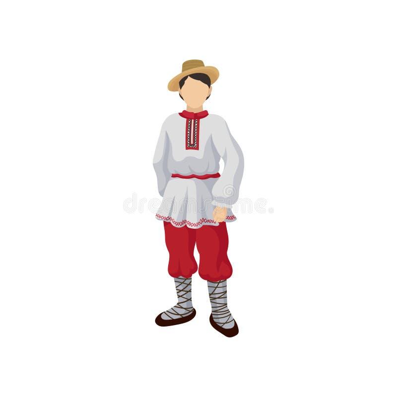 Mens in volks Roemeens kostuumoverhemd met traditioneel ornament op kraag, rode broek, strohoed en bastschoenen Vlakke vector stock illustratie