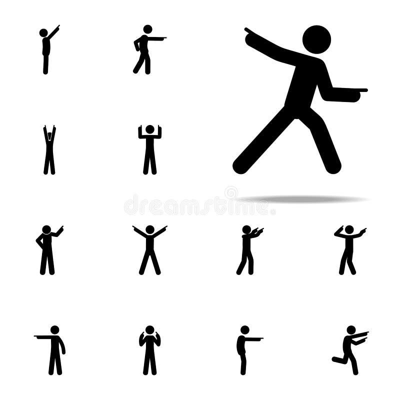 mens vooruit, vingerpictogram Mens die voor Web wordt geplaatst en het mobiele algemene begrip richten die van Vingerpictogrammen royalty-vrije illustratie