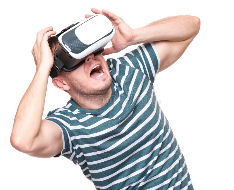Mens in VR-glazen royalty-vrije stock afbeeldingen