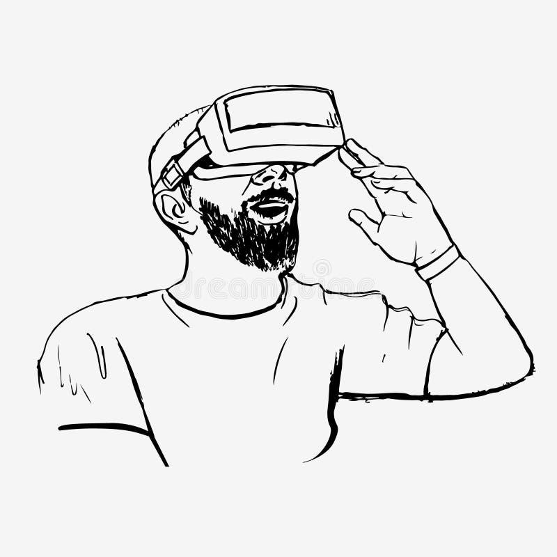 Mens in VR-glazen vector illustratie