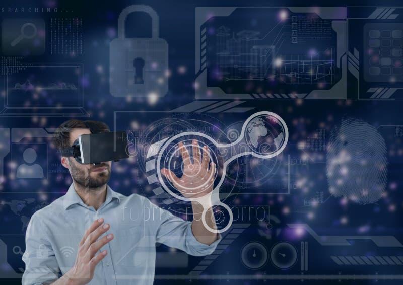 Mens in VR-hoofdtelefoon wat betreft interface tegen purpere interfaceachtergrond vector illustratie