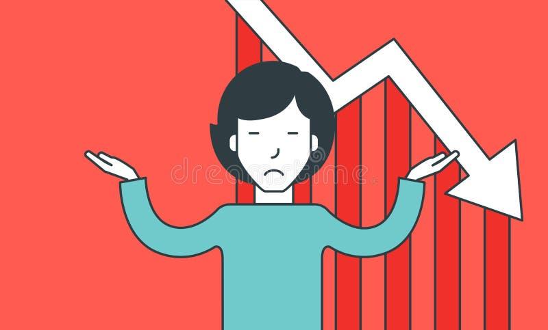 Mens in wanhoop wegens faillissement stock illustratie