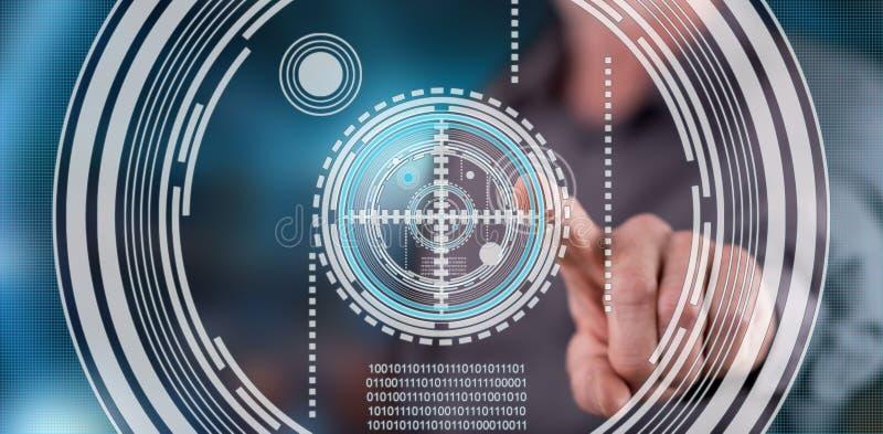 Mens wat betreft een concept van de virtueltechnologie op het aanrakingsscherm royalty-vrije stock afbeelding