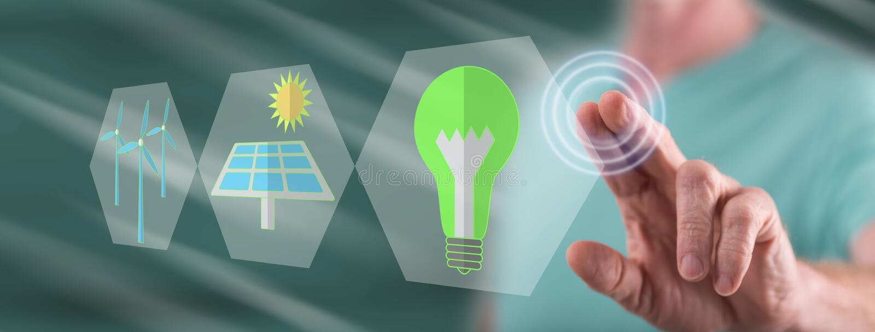 Mens wat betreft een groen energieconcept royalty-vrije stock foto's
