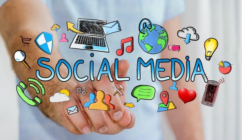 Mens wat betreft hand getrokken sociale media presentatie vector illustratie