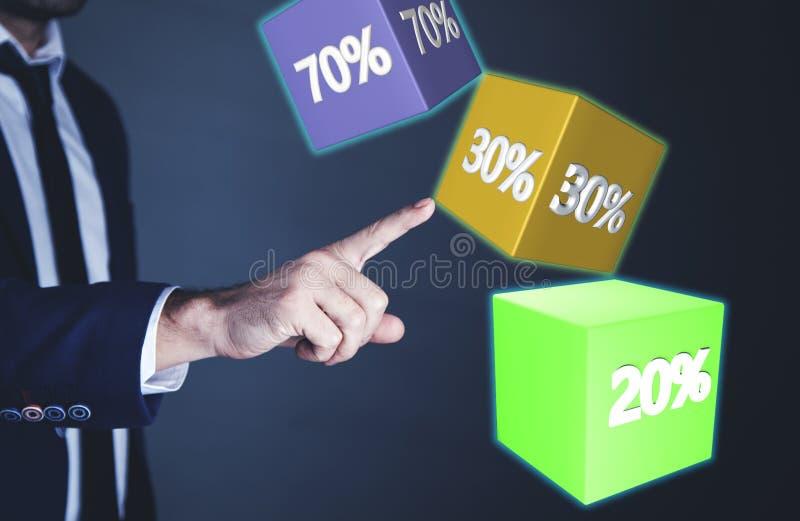 Mens wat betreft in procenten royalty-vrije stock afbeelding