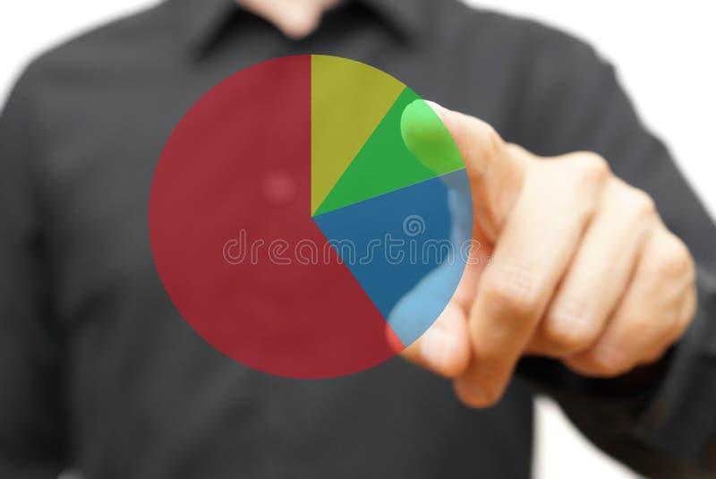 Mens wat betreft virtueel cirkeldiagram royalty-vrije stock foto's