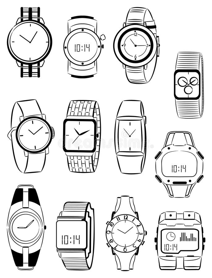 Mens watches. Set of silhouettes of mens watches vector illustration
