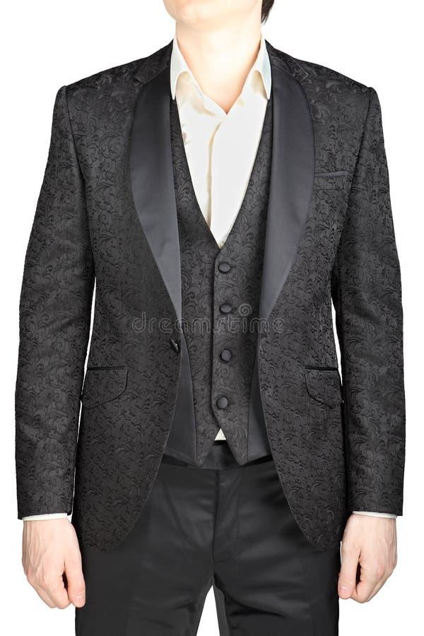 Mens wedding dress black pattern blazer unfastened for Blazer with dress for wedding