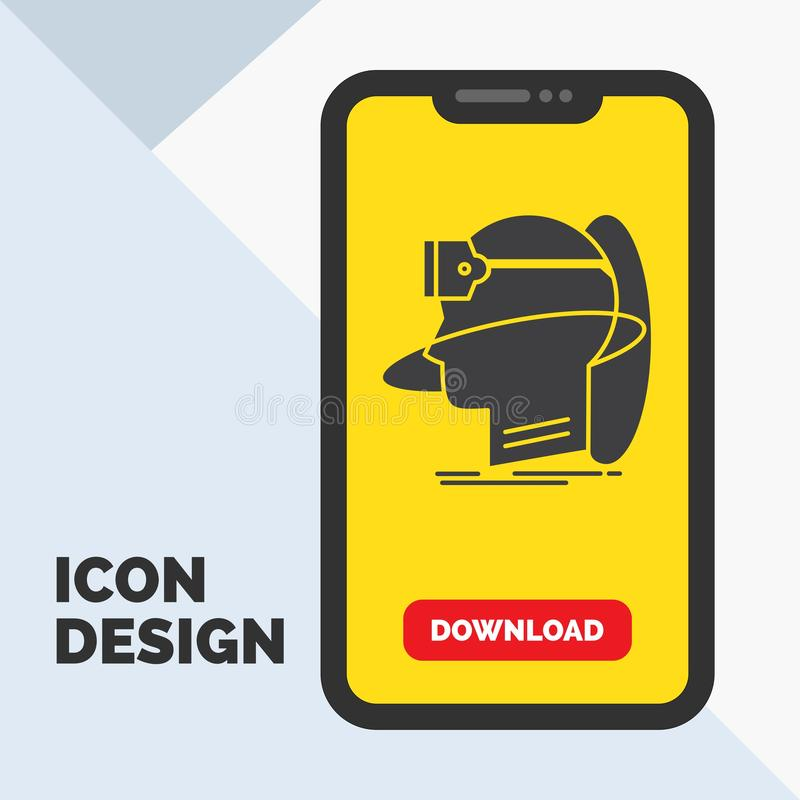 mens, mens, werkelijkheid, virtuele gebruiker, vr Glyph-Pictogram in Mobiel voor Downloadpagina Gele achtergrond stock illustratie