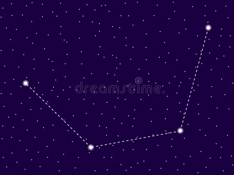 Mensa constellation. Starry night sky. Zodiac sign. Cluster of stars and galaxies. Deep space. Vector. Illustration stock illustration