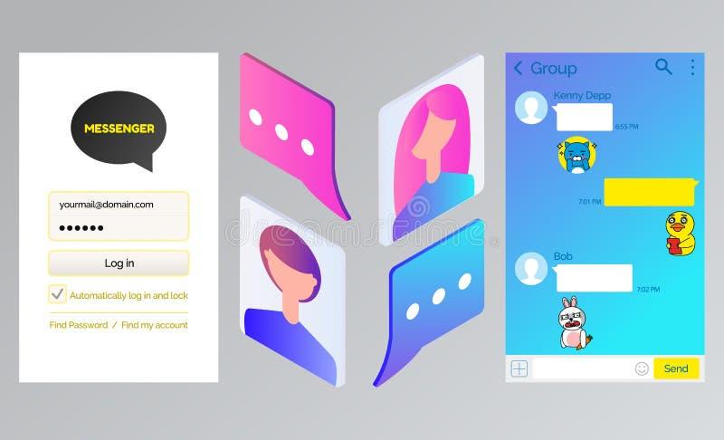 Mensageiro da conversa de Kakao, relação do bate-papo e Avatars ilustração stock
