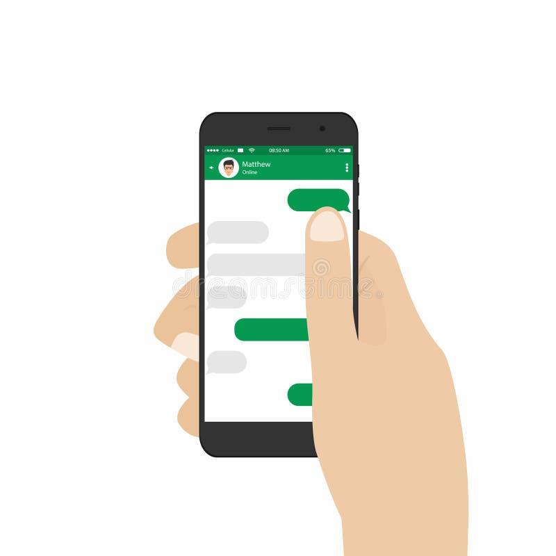 Mensageiro e conceito social da rede Smartphone da terra arrendada da mão ilustração royalty free