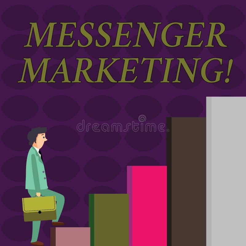 Mensageiro Marketing da exibição do sinal do texto Ato conceptual da foto do mercado a seus clientes que usam um app da mensagem ilustração stock
