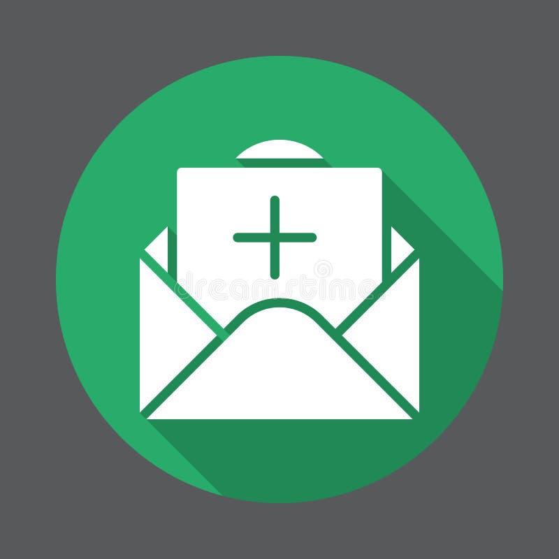 Mensagem com ícone liso positivo Botão colorido redondo, sinal circular do vetor com efeito de sombra longo ilustração do vetor