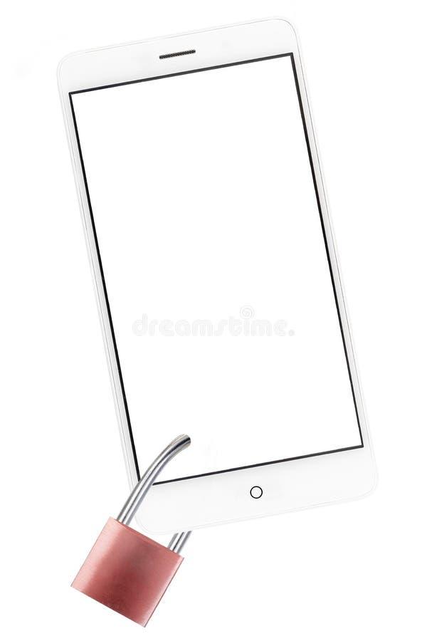 Mensagem conceptual do perigo do apego do smartphone: CREN do smartphone com texto da cópia com um cadeado no branco imagens de stock royalty free