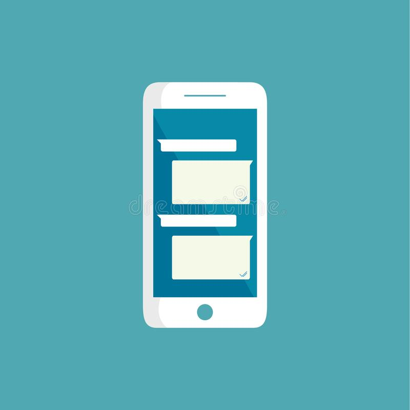 A mensagem curto do mensageiro do ícone do vetor em bolhas do serviço do ícone do vetor do telefone Text o molde vazio dos bubles ilustração stock