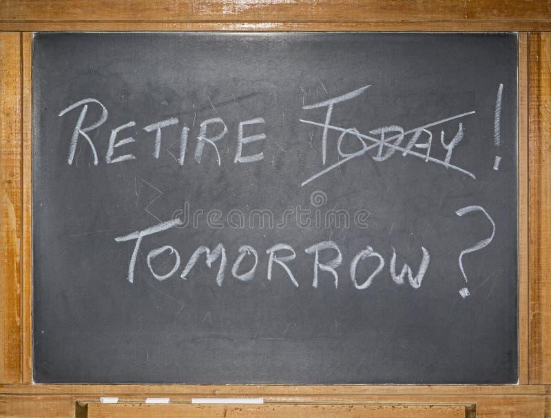 Mensagem da aposentadoria do giz de quadro-negro do vintage imagens de stock