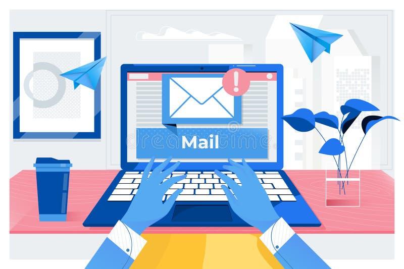 A mensagem da conex?o de uma comunica??o do correio ao envio pelo correio contacta o conceito global das letras do telefone ilustração royalty free