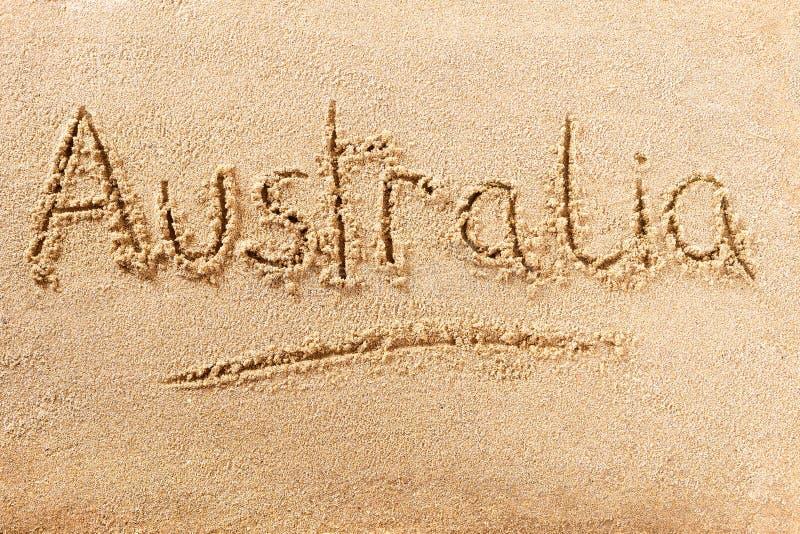 Mensagem da escrita da praia do verão de Austrália imagem de stock
