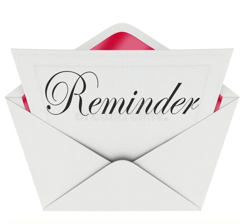 A mensagem da nota da palavra do lembrete recorda a nomeação importante Meetin ilustração royalty free