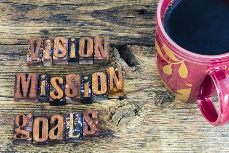 Mensagem da tipografia dos objetivos da missão da visão fotografia de stock