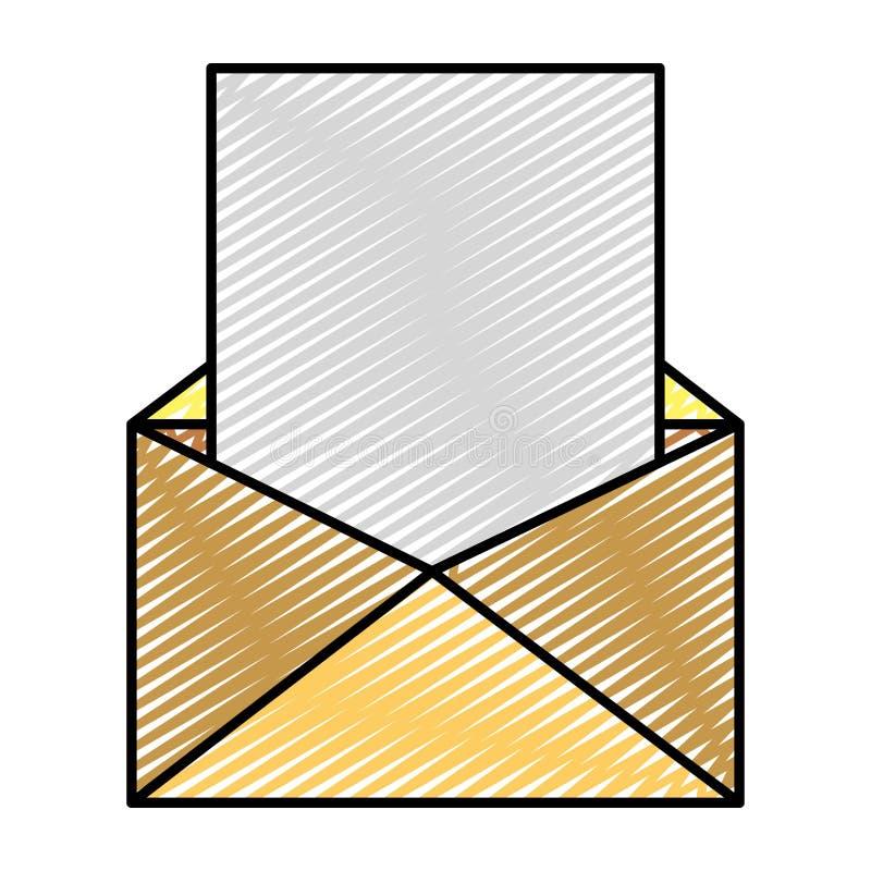 Mensagem de e-mail da garatuja com informação do texto do documento ilustração do vetor