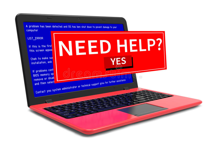 Mensagem de erro do PC do laptop do portátil do negócio na tela azul foto de stock royalty free