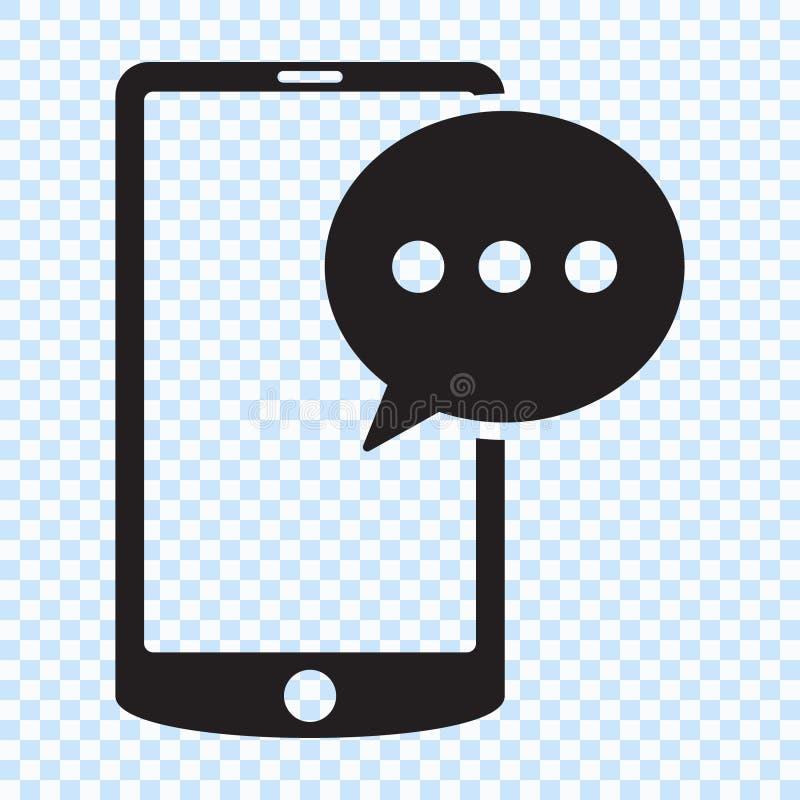 Mensagem de SMS no ícone do smartphone Ícone da mensagem de SMS no estilo liso isolado no fundo branco Símbolo de Sms no telefone ilustração do vetor