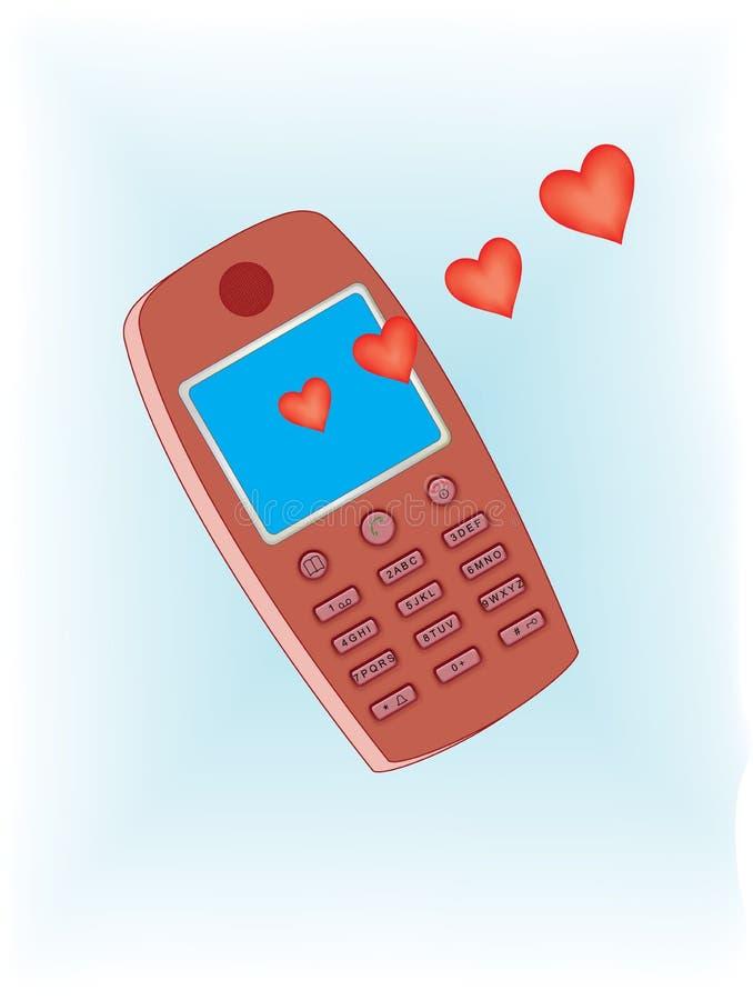 Mensagem do amor do telemóvel ilustração royalty free
