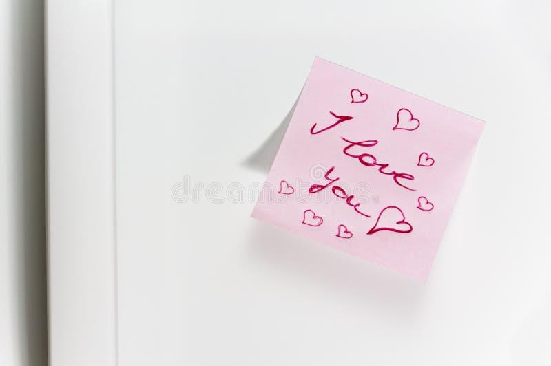 Mensagem do amor no refrigerador fotos de stock royalty free
