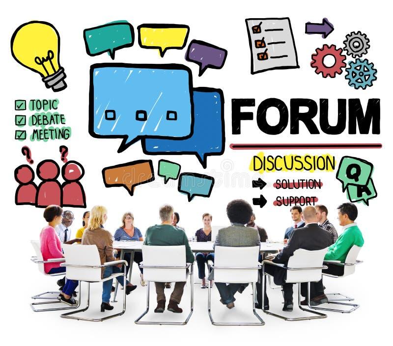 A mensagem do bate-papo do fórum discute o conceito do assunto da conversa fotos de stock royalty free