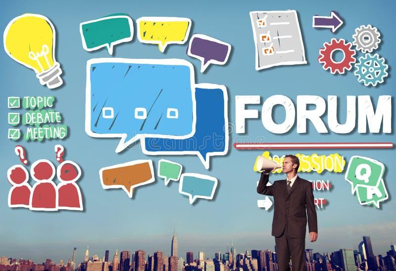 A mensagem do bate-papo do fórum discute o conceito do assunto da conversa ilustração do vetor
