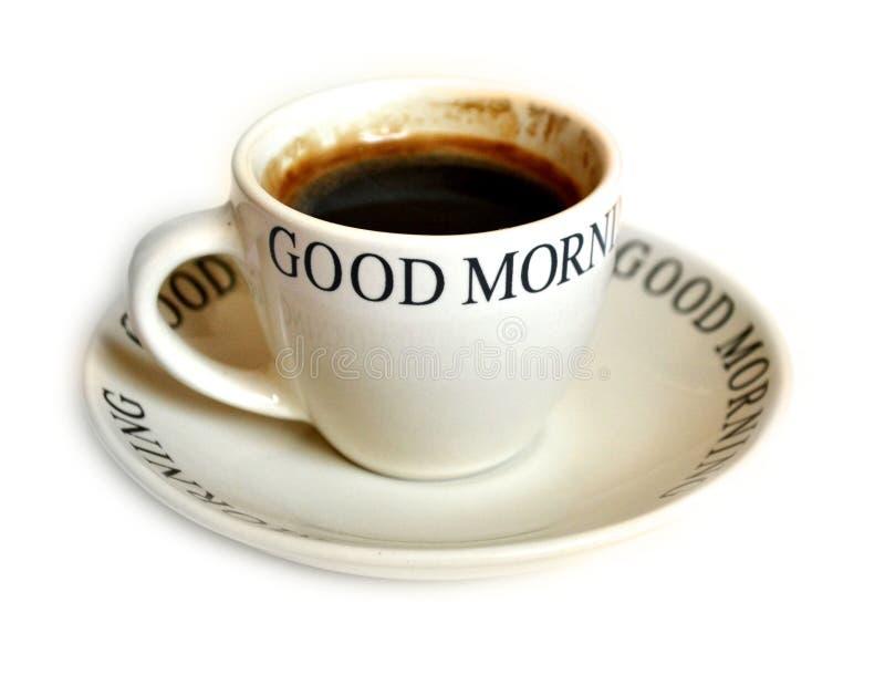 Mensagem do bom dia do copo de café fotografia de stock