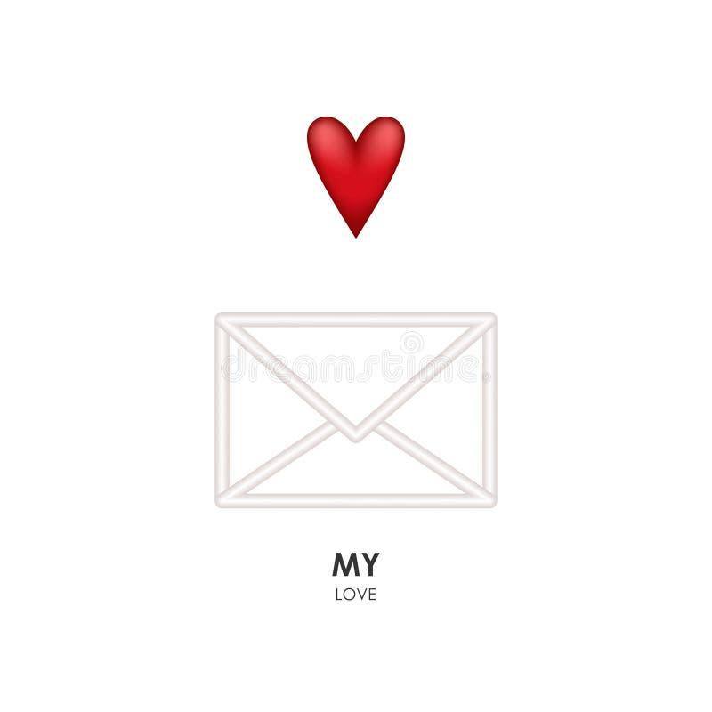 Mensagem do cartão com coração vermelho ilustração do vetor