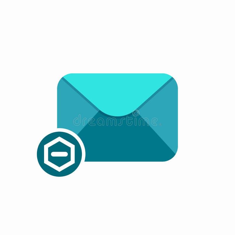 A mensagem do correio de letra do envelope do e-mail para remover para enviar subtrai o ícone ilustração do vetor
