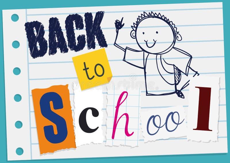 Mensagem do cumprimento com garatuja e cortes para de volta à escola, ilustração do vetor ilustração royalty free