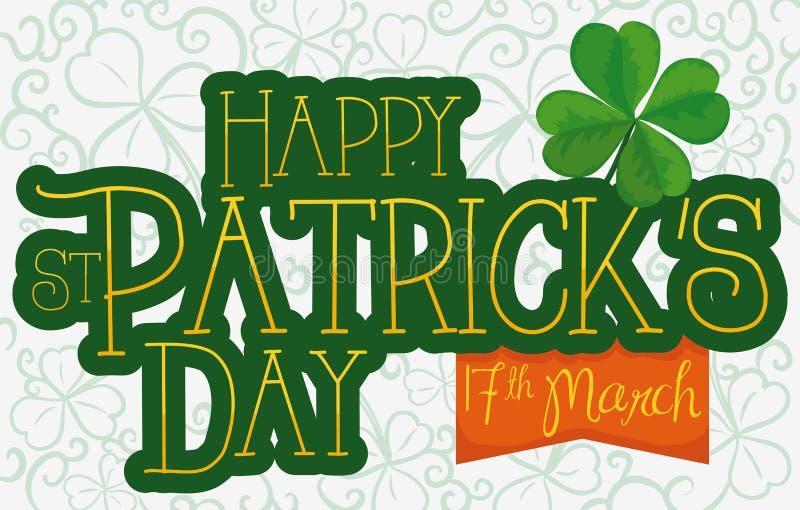 Mensagem do cumprimento para o dia do ` s de St Patrick, a fita e os trevos, ilustração do vetor ilustração do vetor