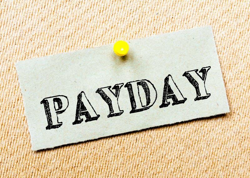 Mensagem do dia de pagamento imagem de stock