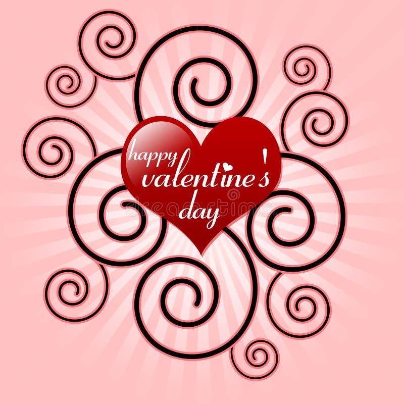 Mensagem do dia do Valentim feliz no coração vermelho ilustração royalty free